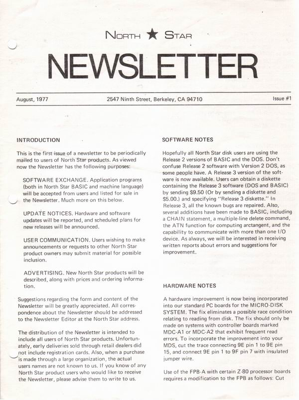 First issue of the North Star Newsletter