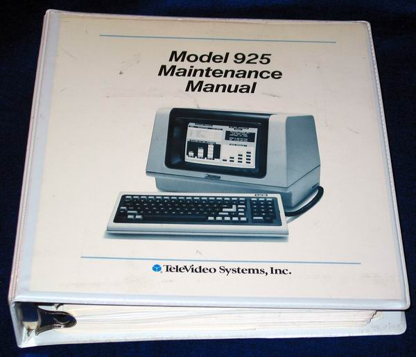 Televideo 925 Mantenance Manual