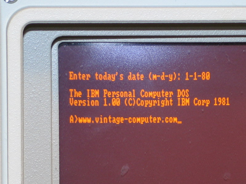 A closeup of the IBM PC Portable screen